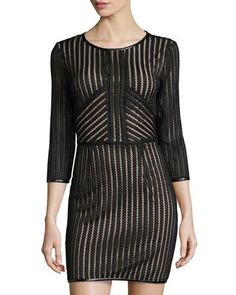 Good-Looking Striped Lace Dress, Black