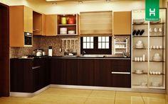 Robin Ultra-Mod L-Shaped Kitchen - Homelane India Kitchen Cabinet Interior, Modern Kitchen Cabinets, Smart Kitchen, Indian Room Decor, Muji Home, Kitchen Design, Kitchen Decor, L Shaped Kitchen, Home Decor Furniture