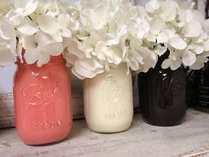Hand-painted Coral, White, and Brown Mason Jars. Perfect for Gifts, Home Decorations, and Weddings.