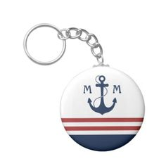 Nautical Monogram Key Chain.  Personalize it with your own letters.
