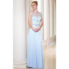 Sean Collection 50884 Prom Long Dress Long High Neckline Short Sleeve ($318) ❤ liked on Polyvore featuring dresses, gowns, formal dresses, ice blue, blue prom dresses, long prom dresses, long evening gowns, prom dresses and formal evening gowns