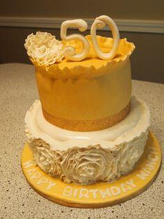 Glam Ruffle Rose Cake #ruffleroses #glamcake #goldcake #50thbdaycake