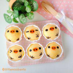 Little Miss Bento シャリーのかわいいキャラベン: Recipe for Kiioritori Japanese Steam Cakes (Mushi-pan) レシピ・キイロイトリの蒸しパンの作り方