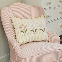 Flower Cushion - Straw Stripe/Three Primula/Pompoms   Susie Watson Designs