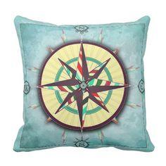 Bright Stripes Aqua Nautical Compass Pillow - stripes gifts cyo unique style