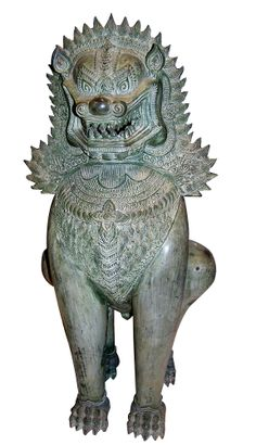 """Shinga Lion - Foo - Dragon dog guards. Khmer. In Thailand and Cambodia these lions are the ancient sacred guardians of Buddhist temples. The dragon in Buddhist religion was sacred, and has sometimes been offered to Buddha as a sacrifice. Their name originates from the Chinese word for Buddha which is Fo, that led to """"Dog of Fo"""". In ancient China, the mythological Foo Dog or Shishi Lion was considered a guardian of people and property as well as protection against evil spirits."""