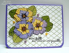 handmade card .... beautiful example of paper piecing by quilterlin ... posey of purple and yellow flowers on green leaves ....gorgeous ... Paper Trey Ink ...