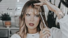 Looking to cut or trim your own bangs while the salon is closed? These tutorials show you exactly how to cut and trim your bangs at home. Curly Bangs, Wispy Bangs, Blunt Bangs, Cut Own Hair, Hair Cuts, Trim Bangs, Bangs Tutorial, How To Cut Bangs, Easy Youtube