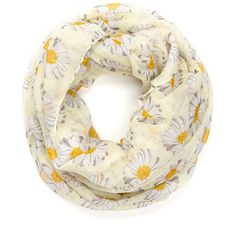 Daisy Picker Printed Infinity Scarf YELLOW (4.892 JOD) ❤ liked on Polyvore featuring accessories, scarves, yellow, floral infinity scarves, infinity scarf, yellow infinity scarves, sheer shawl and tube scarf