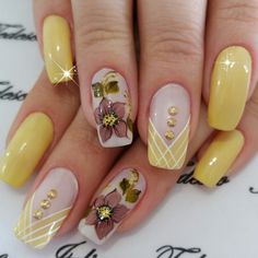Pretty Nail Designs, Fall Nail Designs, Simple Nail Designs, Funky Nails, Trendy Nails, Cute Nails, Joy Nails, Long Square Nails, Yellow Nail Art