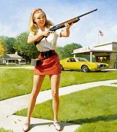 Vintage Color PIN up Art Print Reproduction Artist Gil Elvgren Pin Ups Vintage, Photo Vintage, Vintage Pins, Gil Elvgren, Skeet Shooting, Trap Shooting, Shooting Sports, Shooting Club, Pin Up Girls