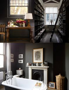 Love the library/hallway w/ the ladder.  The darker grey walls are fantastic, and who doesn't need a fireplace with their clawfoot bath?!