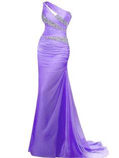 VILAVI Women's Mermaid One Shoulder Long Chiffon Beading Prom Dresses 12 Purple