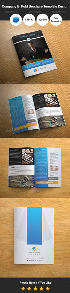6 Pages Business Bi Fold Brochure Template Design Brochure - bi fold brochure template word