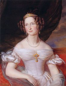 The Grand Duchess Ánna Pávlovna of Russia (1795-1865). She was a daughter of Emperor Pável I and his 2nd wife, The Duchess Sophie Dorothea of Württemberg (Empress Maríya Fëdorovna). She was The Princess of Orange (1816-1840) and Queen of the Netherlands (1840-1849) as the wife of King Willem II. Her surviving children were King Willem III, The Princes Alexander and Hendrik, and The Princess Sophie.