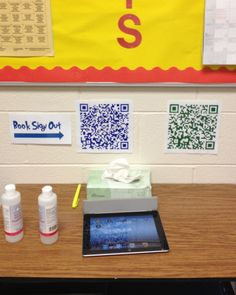 Classroom routines made simpler with QR codes: Book Sign Out, Hall Pass 4th Grade Classroom, Classroom Design, Classroom Organization, Classroom Management, Science Classroom, Behavior Management, Library Checkout System, Classroom Library Checkout, Classroom Libraries