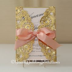 Gold and Blush Invitation Card by BoxedWedding on Etsy