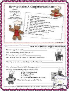 Gingerbread multi-step directions and procedural writing freebie Gingerbread Man Activities, Christmas Activities, Classroom Activities, Learning Activities, Gingerbread Men, Kindergarten Christmas, Preschool Bulletin, Speech Activities, Educational Activities