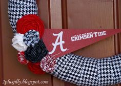 alabama football party | think the wreath looks great on our crimson door!