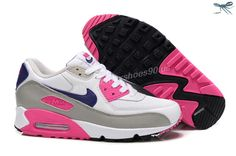 White Gray Purple Pink Nike Air Max 90 Hyperfuse Mens Trainers