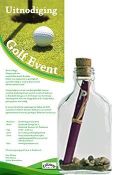 Flessenpost -  uitnodigingen voor je golftoernooi of golfdag #originele #uitnodiging #uitnodigingen #personaliseren #zakelijk #personeelsfeest #event #bedrijf #evenement #golf #golfdag  #golftoernooi