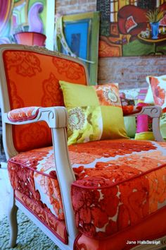 Vintage Furniture Re purposed in Tricia Guild Fabrics and Hand Painted on Canvas--- MY FAV!!!