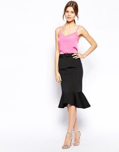 Image 1 of ASOS Premium Pencil Skirt with Belt in Bonded Scuba