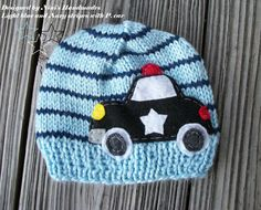 POLICE CAR inspired  Beanie, Light blue and navy stripes,  baby hat, car hat , childrens hats, kids hats,  childrens clothing, kids clothing on Etsy, $26.00