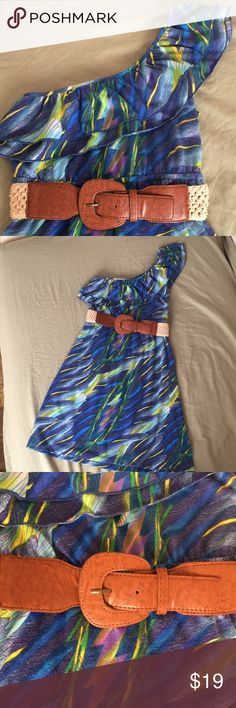 Belle de Jour Worn once! One shoulder dress, comes with belt. Slight pilling in a small section on back of dress (shown in last photo). Size juniors medium (fits as regular small). Belle Du Jour Dresses One Shoulder