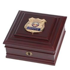 Police Department Medallion Desktop Box Hand Made By Veterans