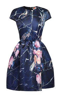 sweet. Cap Sleeve Printed Duchess Satin Dress by MSGM for Preorder on Moda Operandi