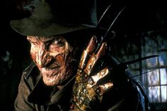 """Freddy Krueger (Robert Englund, A Nightmare on Elm Street) - """"I'm going to split you in two. Halloween Horror Movies, Best Horror Movies, Horror Movie Characters, Sci Fi Movies, Scary Movies, Halloween Music, Amazing Movies, Halloween Stuff, Spooky Halloween"""