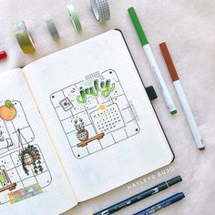 A Lot Mall sur Instagram: July can be green!🎍🌱 Have you got a plant on your desk? This spread is from artist @hayleys.bujo from Canada.  (・ェ-) Quote of The Day…