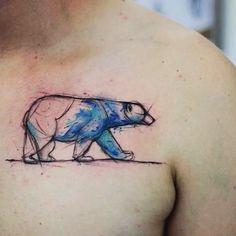Hem kutup ayısının hem de sulu boya efektinin güzelliği.