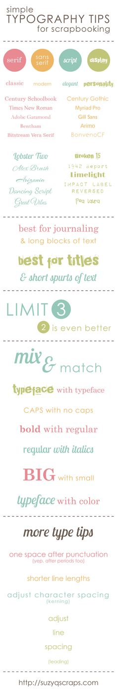 Scrapbooking typography tips from SuzieQ Scraps. Great tips on how to use fonts and list of some very cool fonts perfect for journaling, on your traditional digital layouts or project life pages. Typography Fonts, Typography Design, Hand Lettering, Web Design, Blog Design, Graphic Design, Scrapbook Titles, Scrapbook Cards, Pc Photo