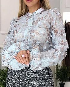 Shop Eyelash Lace Insert Lantern Sleeve Blouse right now, get great deals at pickmyboutique Trend Fashion, Womens Fashion, Flower Applique, Lace Insert, Beautiful Gowns, Ootd, Street Style Women, Pattern Fashion, Sleeve Styles