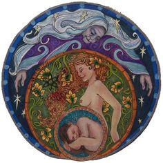 Shop mandala goddess artwork for your favorite doula, midwife, mama, or birth junkie. Éphémères Vintage, Spirit Art, Maiden Mother Crone, Birth Art, Pregnancy Art, Celtic Culture, Divine Mother, Sacred Feminine, Goddess Art