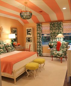 So colorful. Love the ceiling Dream Bedroom, Home Bedroom, Bedroom Decor, Pretty Bedroom, Bedroom Ceiling, Master Bedroom, Style At Home, Striped Ceiling, Striped Walls