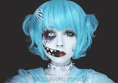 anzujaamu:  I joined a tutorial contest with this Creepy☆Cute Makeup design of mine!Please support me by liking the photo on this link! You can also find my tutorial video link there.Thank you, love you~!