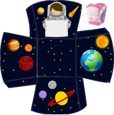 Caixinhas Astronauta - 1 Space Party, Space Theme, Sons Birthday, 4th Birthday Parties, Diy For Kids, Crafts For Kids, Solar System Crafts, Eid Cards, Class Decoration