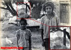 This is a stunning apparition ghost photograph, submitted to Angels & Ghosts by its owner Sunny Virk.  It was photographed in 1978, near the well in the village of Tewar (Mohali), Punjar, India.  It is enlarged.