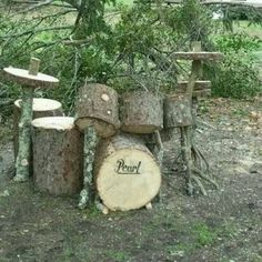 Drum Set from Wood !: Great reuse of wood to make a fake drum set ! Outdoor Play Spaces, Outdoor Fun, Natural Playground, Outdoor Classroom, Outdoor Learning, Drum Kits, Looks Cool, Yard Art, Funny Pictures