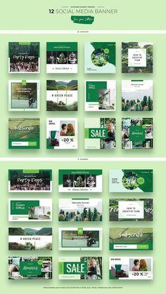 social campaign Green Peace Social Media Designs by Evatheme Market on creativemarket Social Media Ad, Social Media Branding, Social Media Banner, Social Media Template, Social Media Design, Social Media Graphics, Social Media Marketing, Social Campaign, Green Marketing