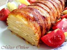 Burgonyarolád (Bacon & Potato Loaf) - Potato as a side dish for dinner. Yummy Vegetable Recipes, Healthy Recipes, Dinner Dishes, Side Dishes, Hungary Food, Good Food, Yummy Food, Hungarian Recipes, Greek Recipes