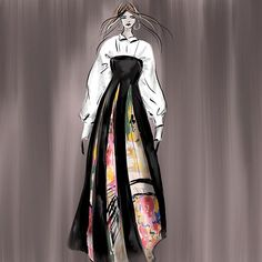 Yesterday #LisaKonno by @lisakonno #japanese #dutch #fashiondesigner #collection Your Truly #whiteblouse #blackandwhite and rich #colourful secondhand silks #amsterdam #fashionshows @fashionweeknederland #fallwinter2016 #elegant #chic and refreshing #instagood #instafashion #fashionistas impression sketch by #lindazoon