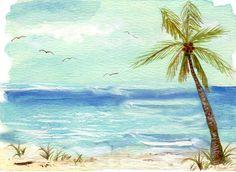 palm tree watercolour painting by artist Stephanie Kriza www.kriza-art.com