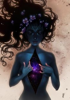 magickal, black long hair, blue skin, galay inside, third eye, triangle, solitaire witch