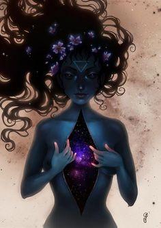 magickal, black long hair, blue skin, galay inside, third eye, triangle…
