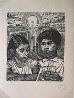 Elizabeth Catlett, La Presa, 1952, Linocut on gray laid paper; 450 x 370 mm [image]; 638 x 484 mm [sheet]