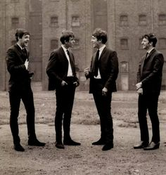 The Beatles at an early photo shoot in Liverpool, circa 1962.